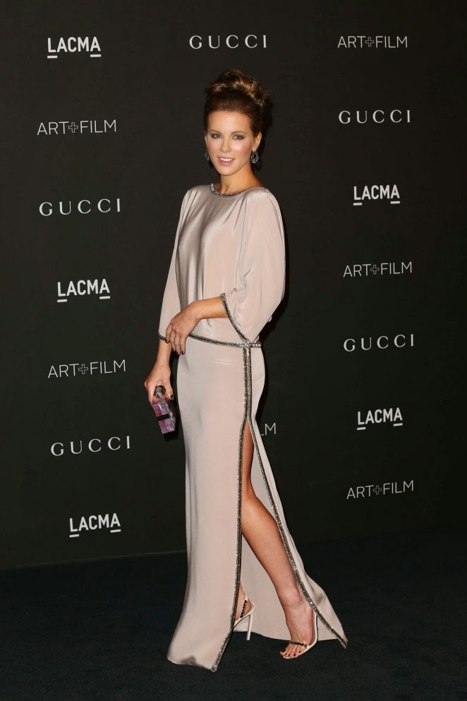 Kate Beckinsale in a backless Grecian gown at the 2014 LACMA Art + Film Gala