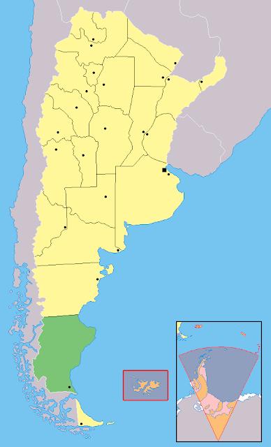 Mapa de localização da província de Santa Cruz - Argentina