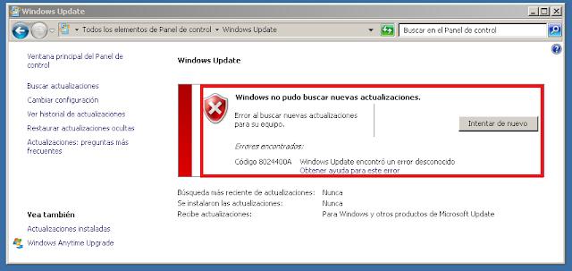 Windows Update no pudo buscar nuevas actualizaciones.