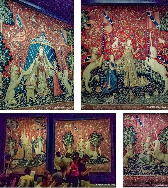 """Tapeçarias da série """"A Dama e o Unicórnio"""", Museu da Idade Média, Paris"""