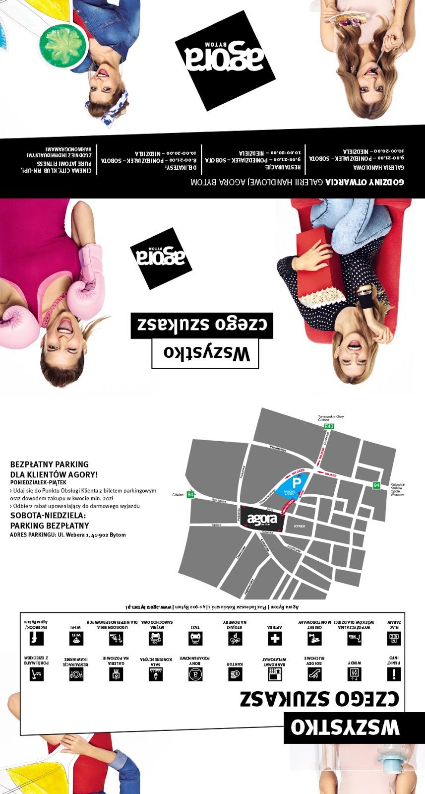 f7ea16ab9c3f9 projekt ulotki 4xDL/składanej do DL/mapa galerii handlowej Agora Bytom -  aktualizacja czerwiec 2015