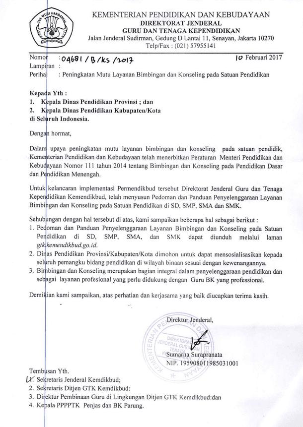 Surat Kemendikbud No 4681/B/KS/2017