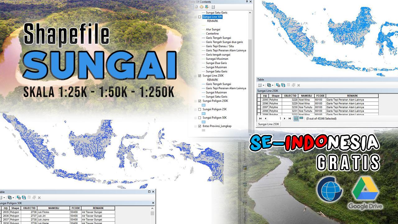 Data SHP (Shapefile) Sungai Seluruh Indonesia Lengkap