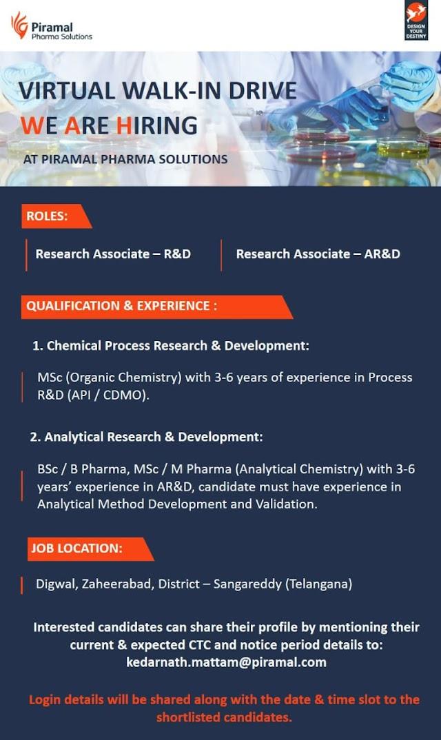 Piramal | Virtual interview for R&D/ AR&D at Zaheerabad | Send CV