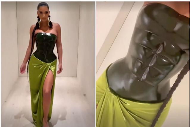 Kim Kardashian is wearing an abs dress for Christmas Eve