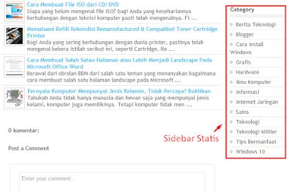Cara Membuat Widget Sidebar Statis Pada Blog