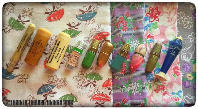 vintage, feedsack fabric, vintage sewing kits, Thistle Thicket Studio, vintage notions