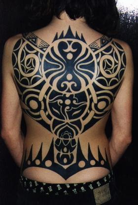 Polynesian Back Tattoo on 2003 Taurus Horn