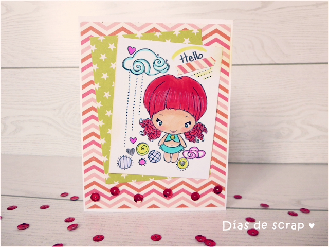 scrap Postal para el reto de The Greeting Farm - FFF Red