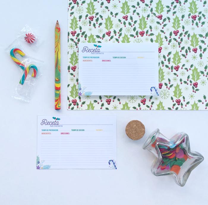 Tarjetas de recetas para compartir, rueda de color, círculo cromático, colores, comida, cocina, fiestas