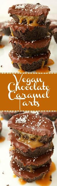 Vegan No-Bake Chocolate Caramel Tarts