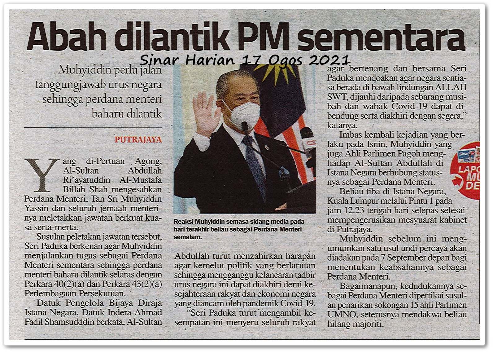 Abah dilantik PM sementara - Keratan akhbar Sinar Harian 17 Ogos 2021