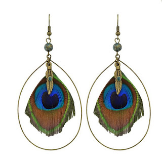 Peacock Feather Teardrop Hook Drop Earrings - Golden