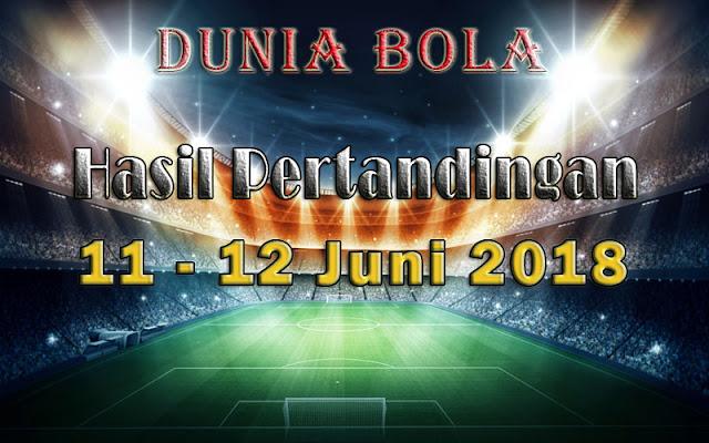 Hasil Pertandingan Sepak Bola Tanggal 11  - 12 Juni 2018