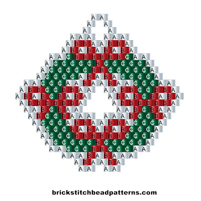 Free brick stitch seed bead weaving pattern labeled color chart