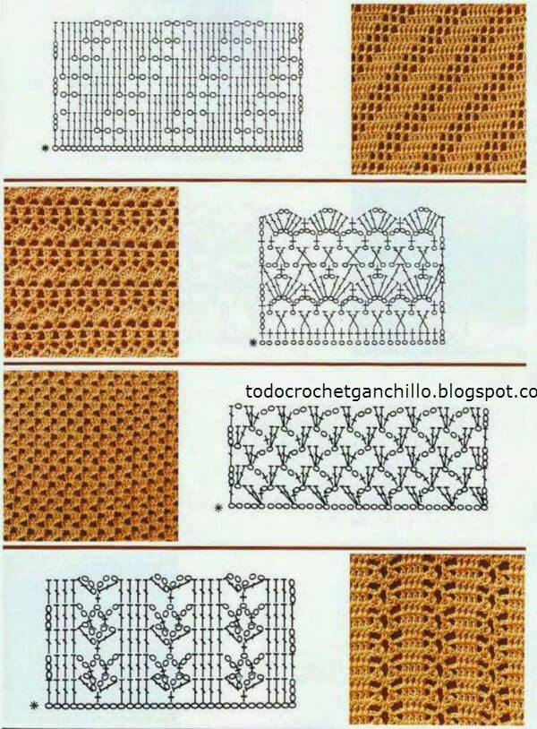 25 hermosos diagramas de puntos ganchillo | Todo crochet