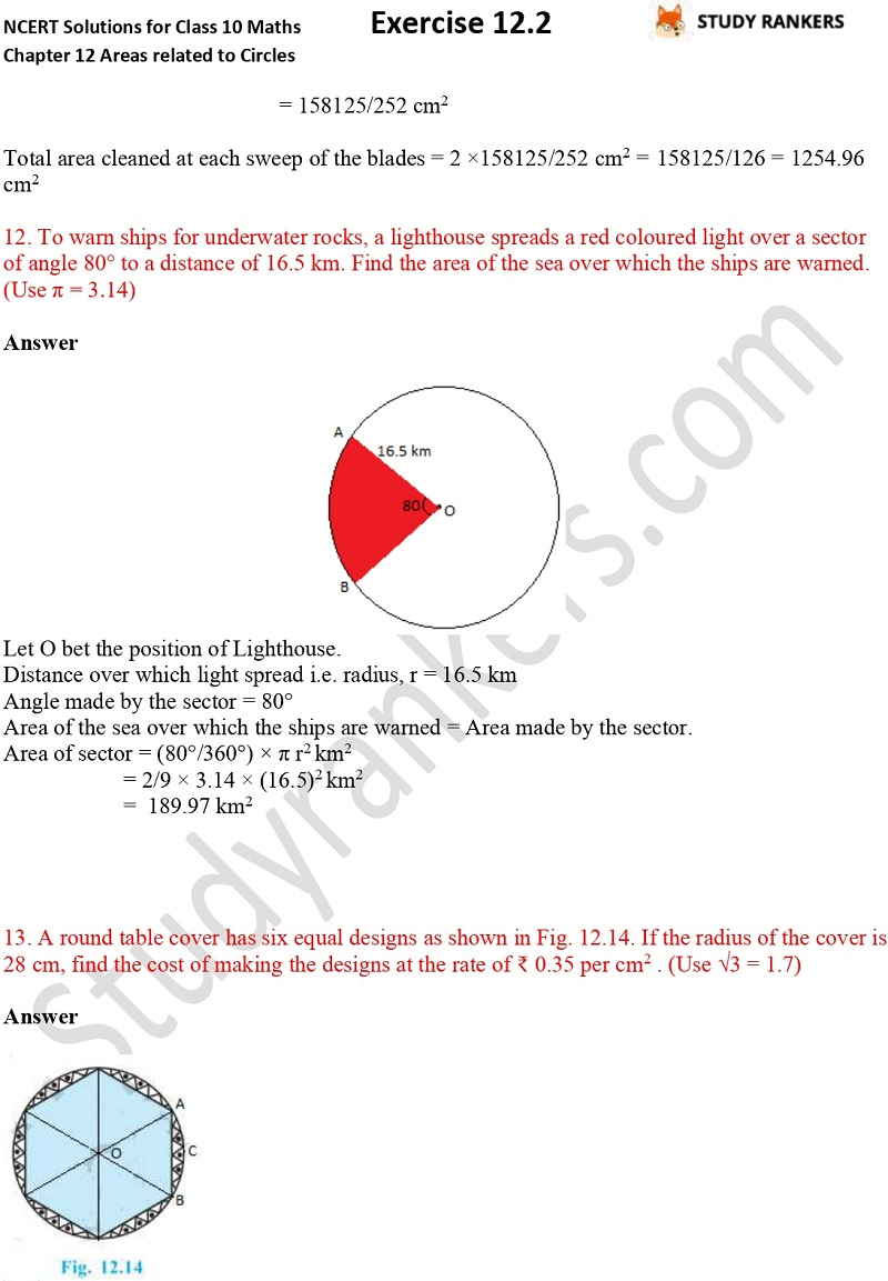 NCERT Solutions for Class 10 Maths Chapter 12 Areas related to Circles Exercise 12.2 Part 1