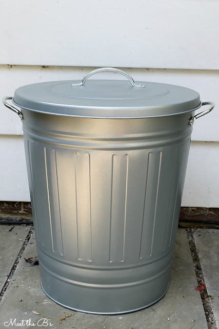 Easy diy patio recycling bin the inspired hive for Ikea trash cans