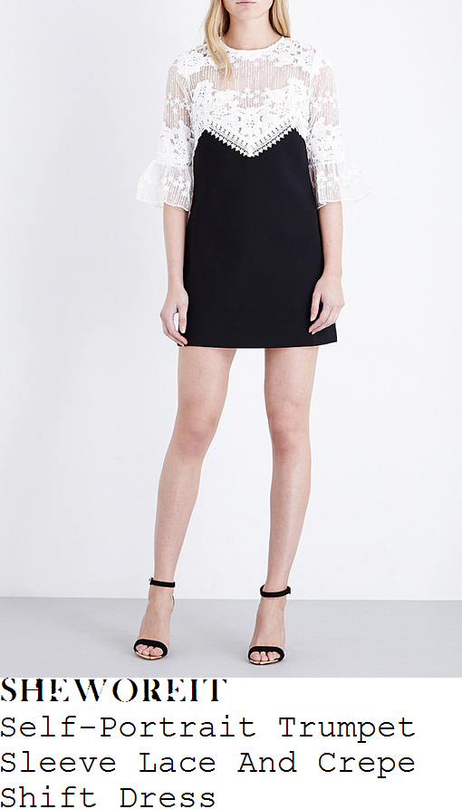 alex-jones-self-portrait-white-and-black-monochrome-elbow-length-trumpet-sleeve-sheer-embroidered-floral-guipure-lace-and-crepe-shift-mini-dress