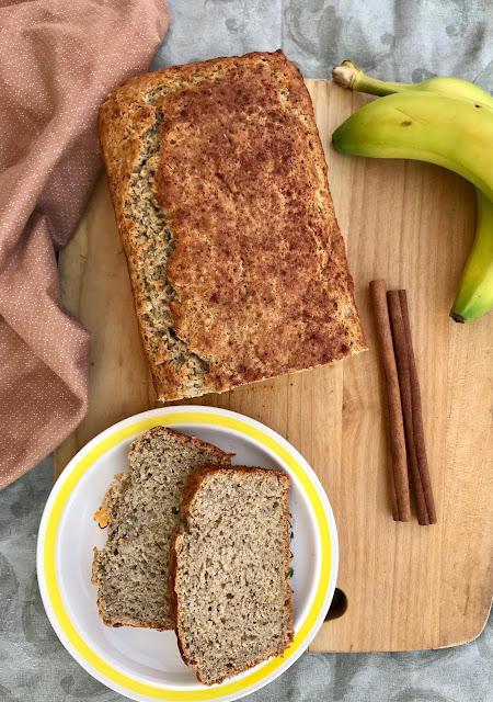 A lightly spiced banana bread with a bit of tangy flavor from sourdough starter is a delicious twist on the classic treat!
