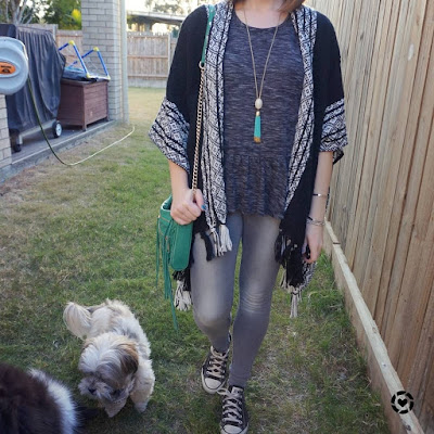 awayfromtheblue Instagram | monochrome peplum tee knitted ruana poncho kimono skinny jeans converse SAHM style