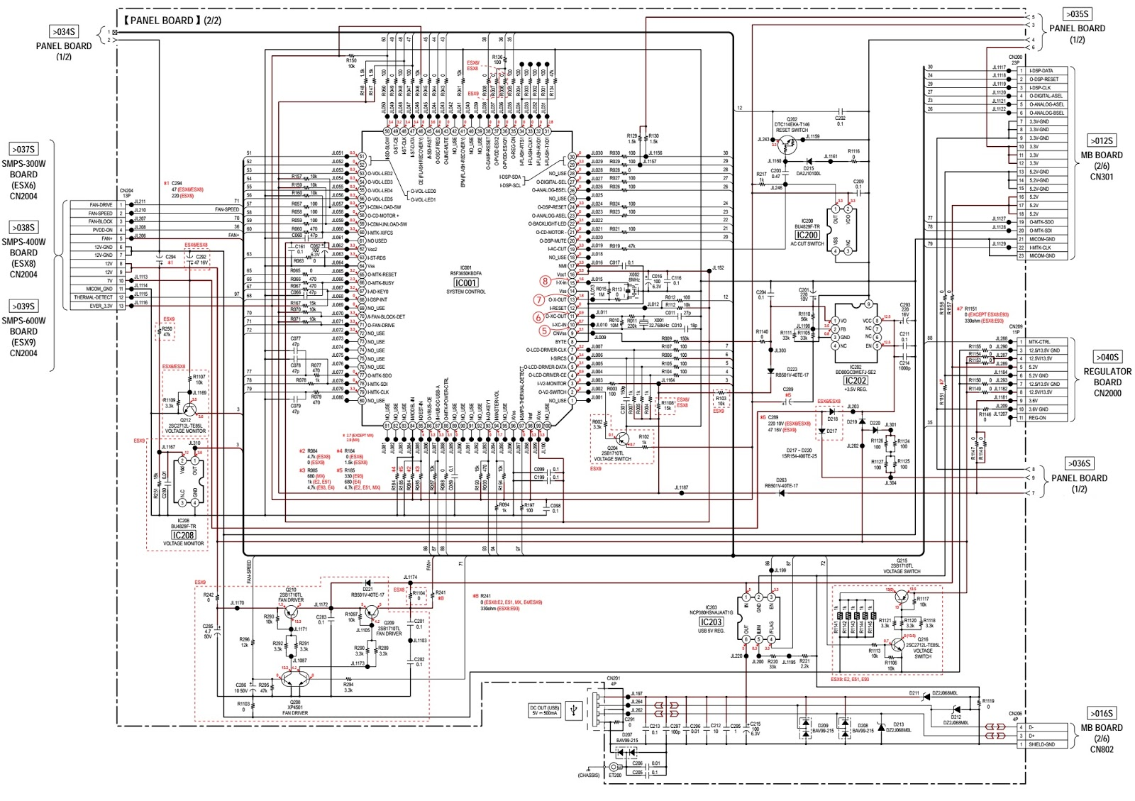 Sony Hcd Esx6 Esx8 Esx9 Compact Disc Receiver Smps And Front Tv Circuit Diagram Together With Led Schematic Panel