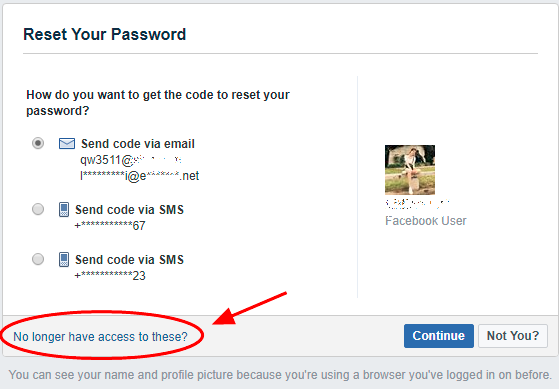 Recover Facebook Password<br/>