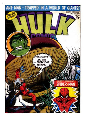 Hulk Comic #33, Ant-Man is trapped at ant size and about to be crushed by a giant foot