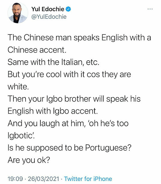 If a Nigerian to speak English, you laugh, But if Chinese speak english you embrace him- Yul Edochie slams Nigerians who laughs at their fellow citizen english