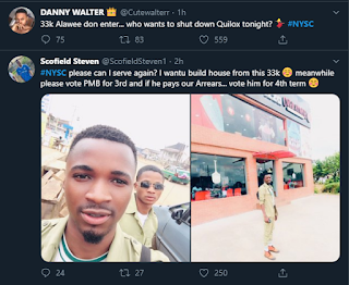 Corpers confirm N33000 allowance as NYSC trends on number 1 on Twitter