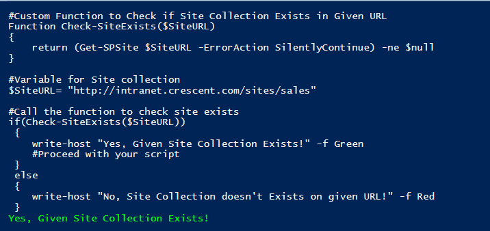 sharepoint powershell to check if site collection exists