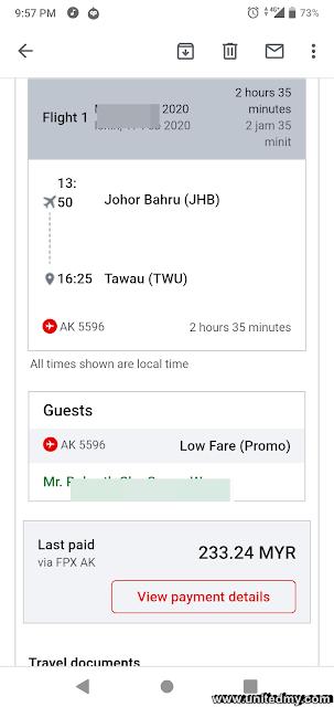 Johor Bahru to Tawau with Airasia flight RM223