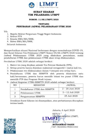 Jadwal Terbaru Kegiatan Pendaftaran UTBK dan SBMPTN tanggal 2-20 Juni 2020, Pelaksanaan UTBK tanggal 5-12 Juli 2020, dan Pengumuman SBMPTN 2020 tanggal 25 Juli 2020