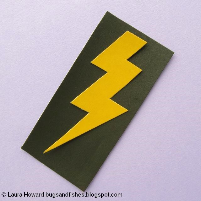 vegan leather lightning bolt brooch tutorial: cut out the lightning bolt