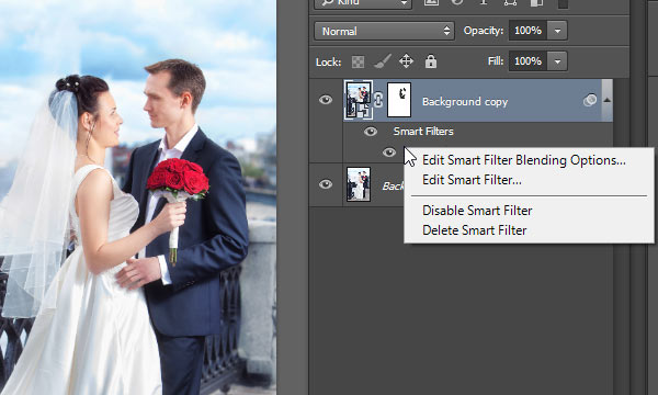 Right click on filter name with smart filters applied in Photoshop