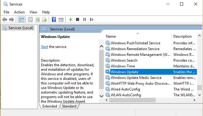 Sử dụng services.msc để chặn Windows tự động update