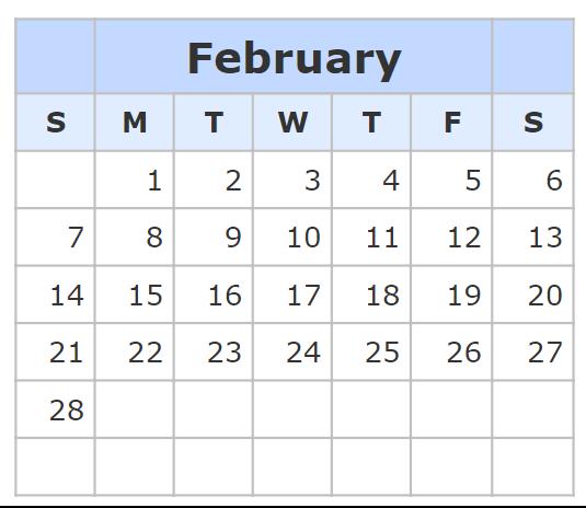 Kalender February 2021