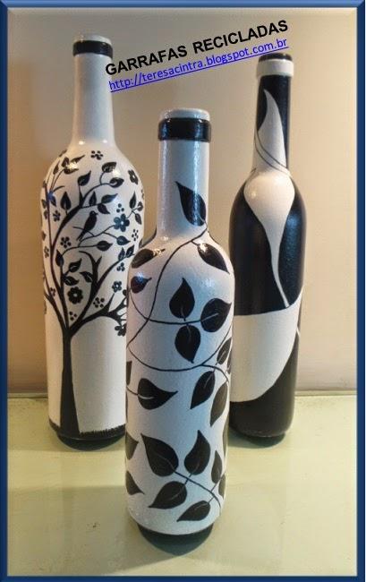 garrafas; decoração, reciclagem, pintura em garrafas; reaproveitamento; artes; reciclagem de garrafas; faça você mesmo; pintura em garrafa; garrafa fofa; artes com garrafas; pintura preto e branco;