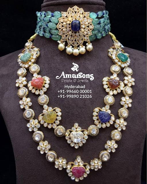 Navaratan Gemstone Necklace by Amarsons