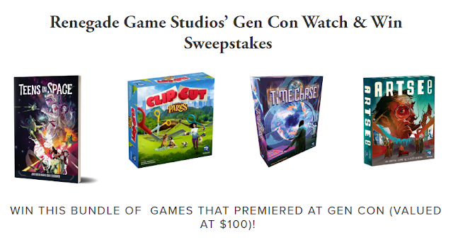 Renegade Game Studios is giving away a bundle of their video games worth one hundred dollars in their watch and win giveaway game!
