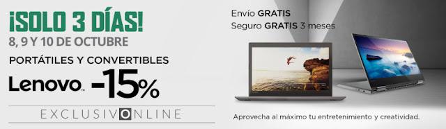 Top 5 ofertas ¡Solo 3 días! -15% portátiles y convertibles Lenovo de El Corte Inglés