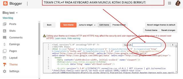 gambar halaman editor HTML blogger blogspot