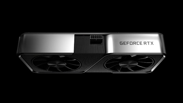 A closeup look of Nvidia RTX 3070 Graphics Card with plain black background