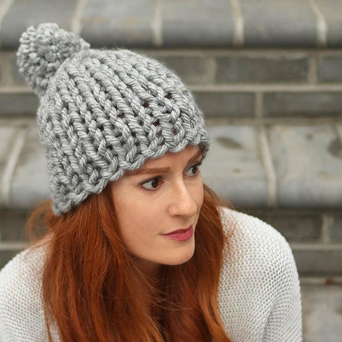 Flat Knit Super Chunky Hat Free Knitting Pattern - Gina ...