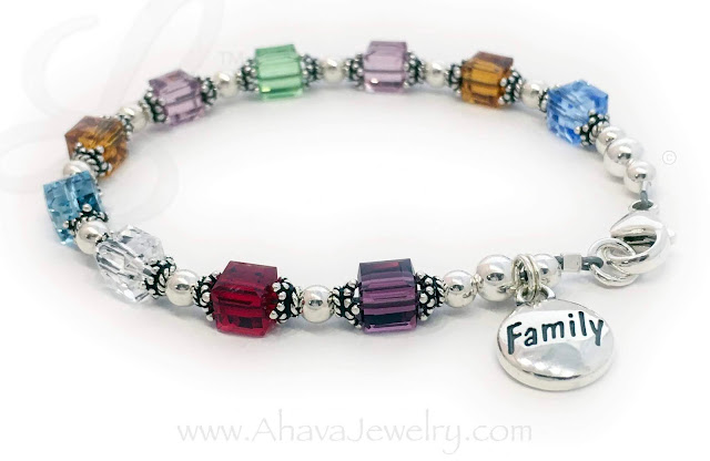 10 Birthstones on this Birthstone Bracelet with a Family Charm