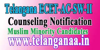 TSECET-AC-SW-II-2016(Muslim Minority)1st /2nd Counseling