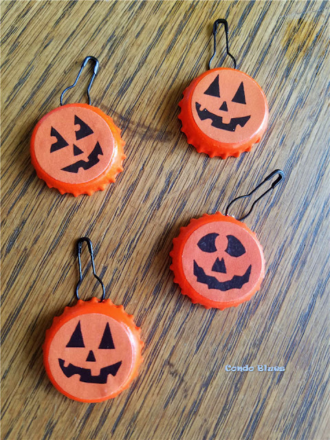 Food Allergy Friendly Trick or Treat Idea DIY bottle cap pumpkin pins