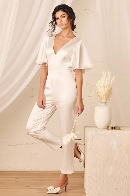 White-satin-flutter-sleeve-jumpsuit-wedding-fashion-Lulus.com-KMich Weddings and Events-Philadelphia-PA