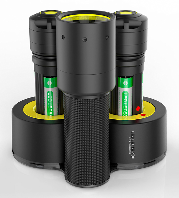 LED Lenser i7R Rechargeable Flashlight with Double Charging Base