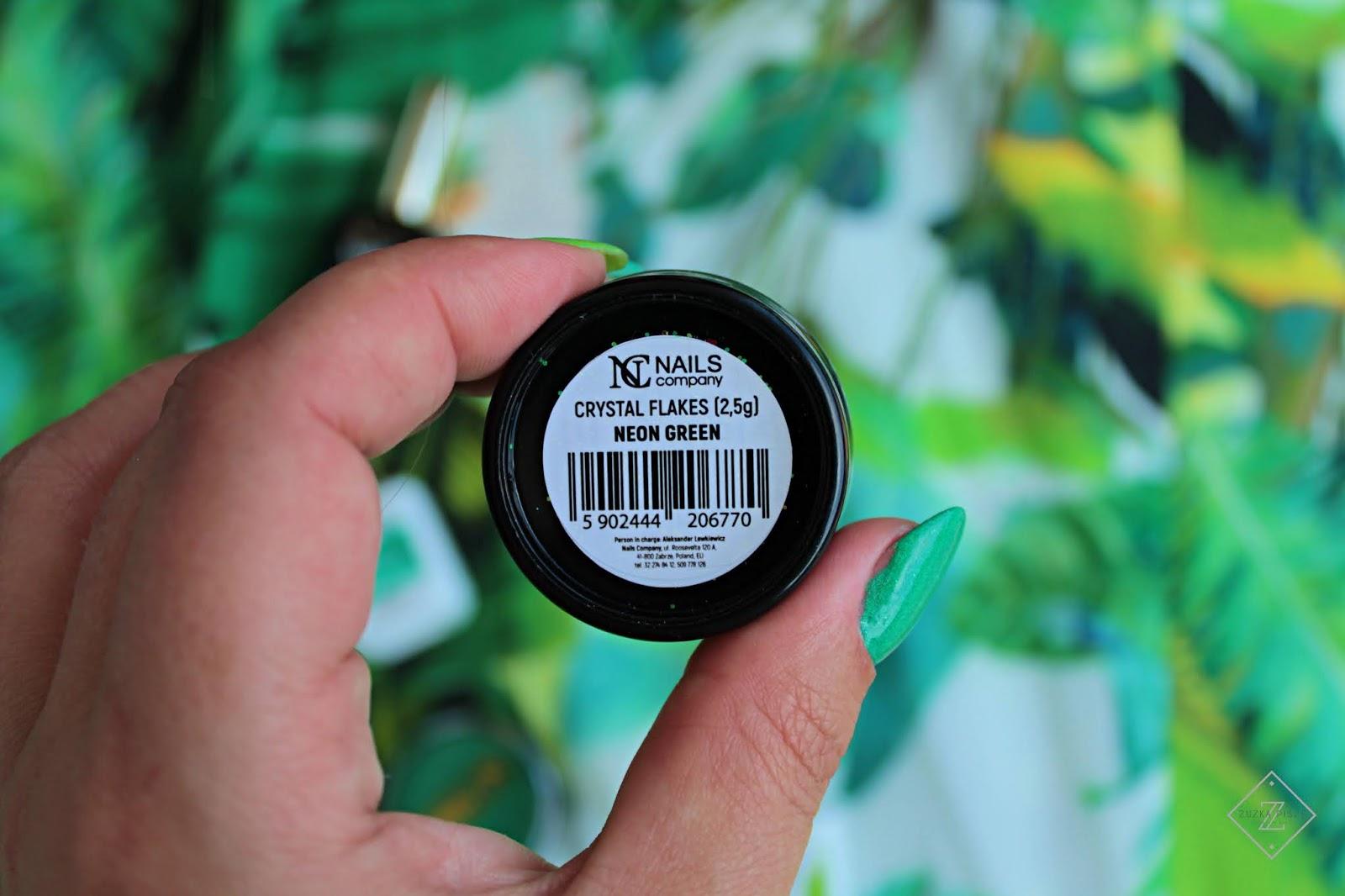 Pyłek NC Nails Company Crystal Flakes NEON Green